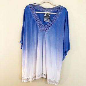 Young Fabulous & Broke ombré blue white blouse XS